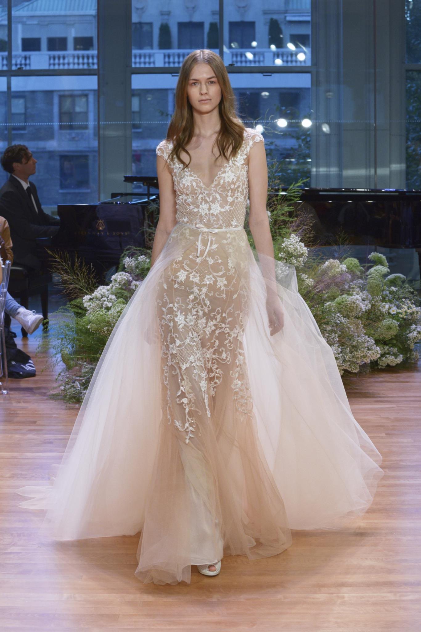 Monique Lhuillier Pascale wedding dress and overskirt - Browns Bride